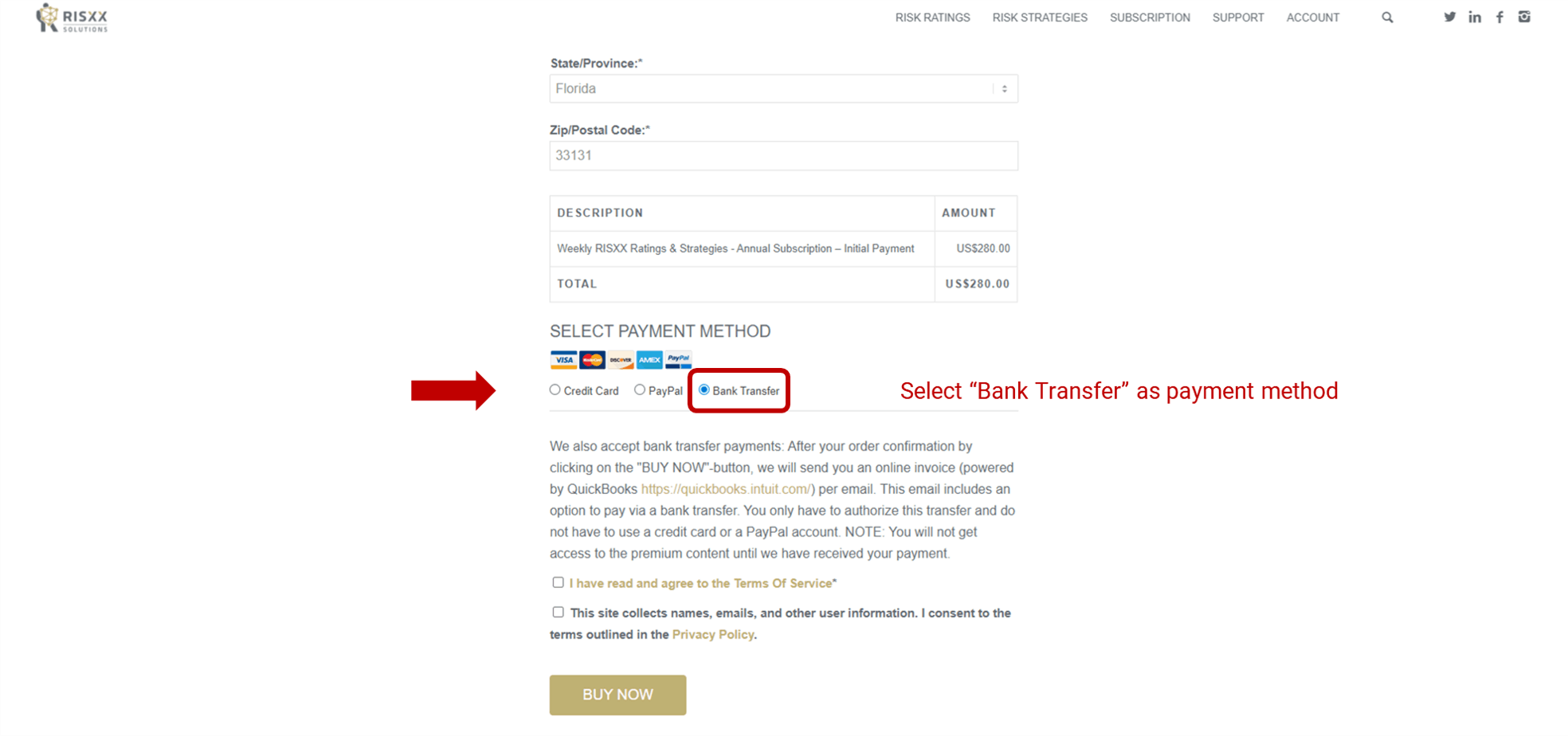 RISXX risk solutions – Bank transfer payment – select Bank Transfer as payment method