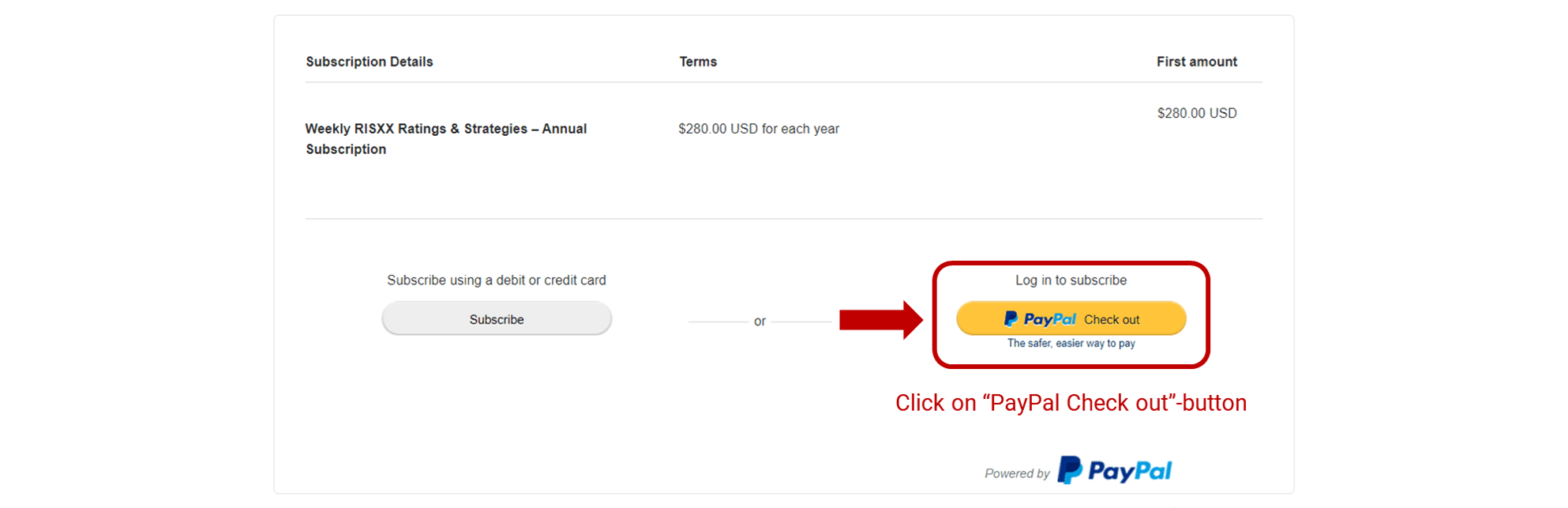 RISXX risk solutions – PayPal payment – click on PayPal checkout out button