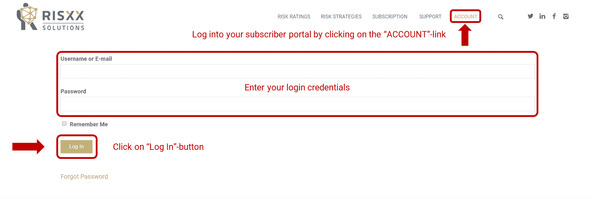 RISXX risk solutions – Log into your subscriber portal by clicking on the account link
