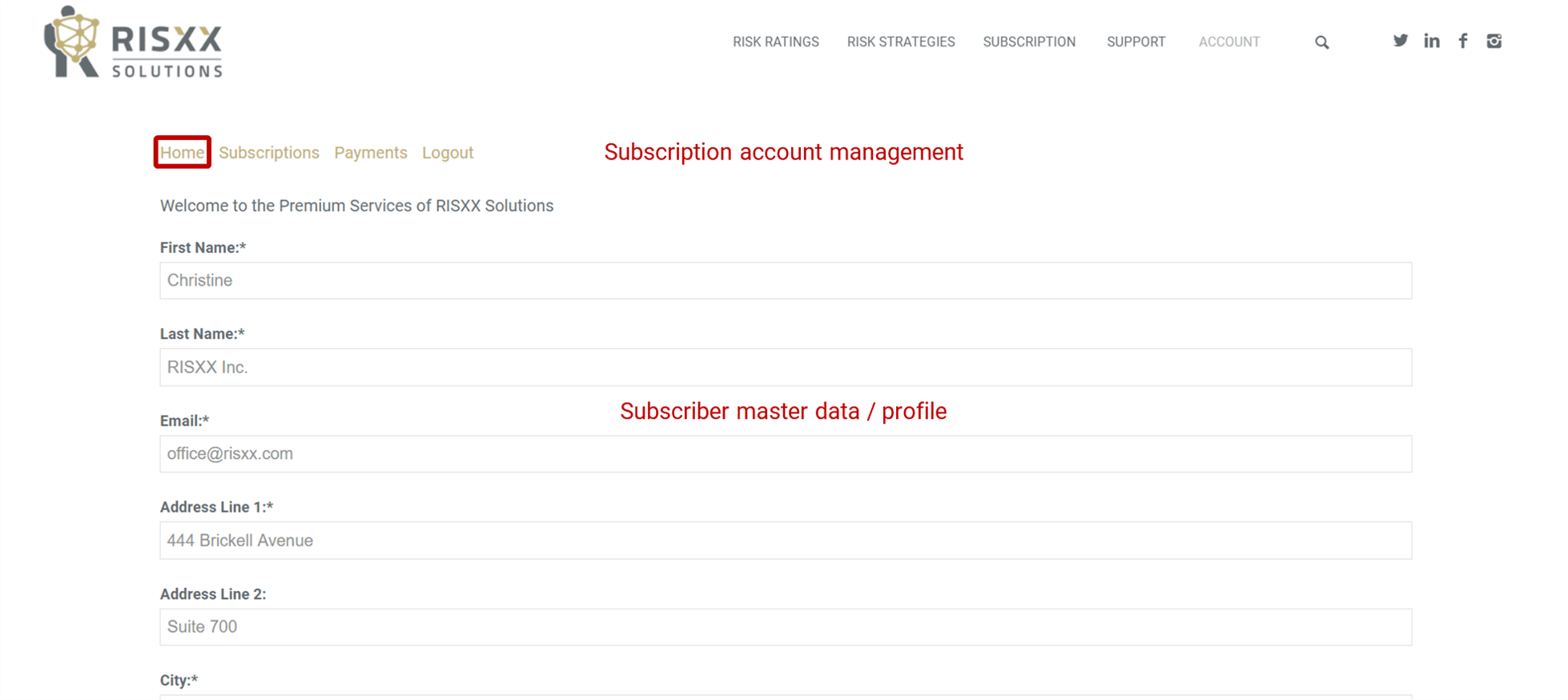 RISXX risk solutions – Subscription account management