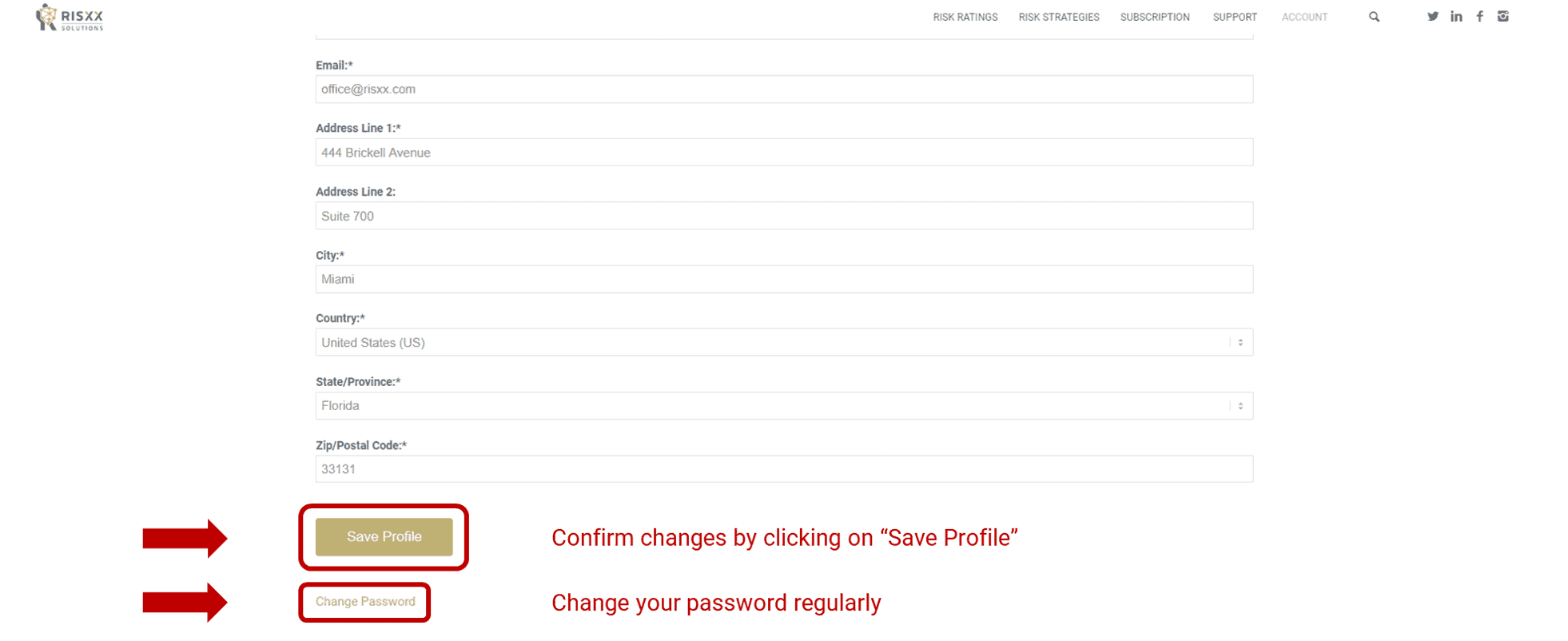 RISXX risk solutions – Subscription account management – confirm changes to profile + change password