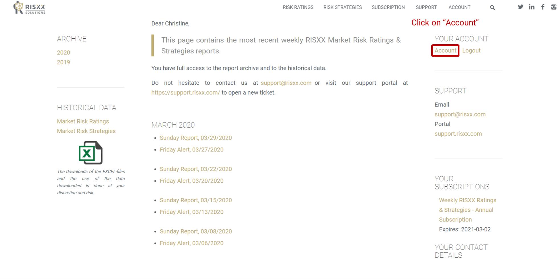 RISXX risk solutions – Update credit card details – access account management